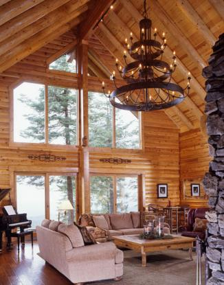 Log Great Room Metal Chandelier