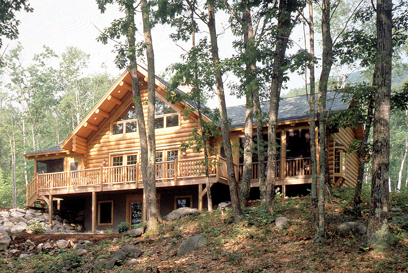 Log Home With Screen Porches and Deck