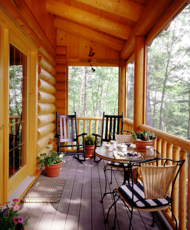 Log cabin screen porch real log style for Log home porches