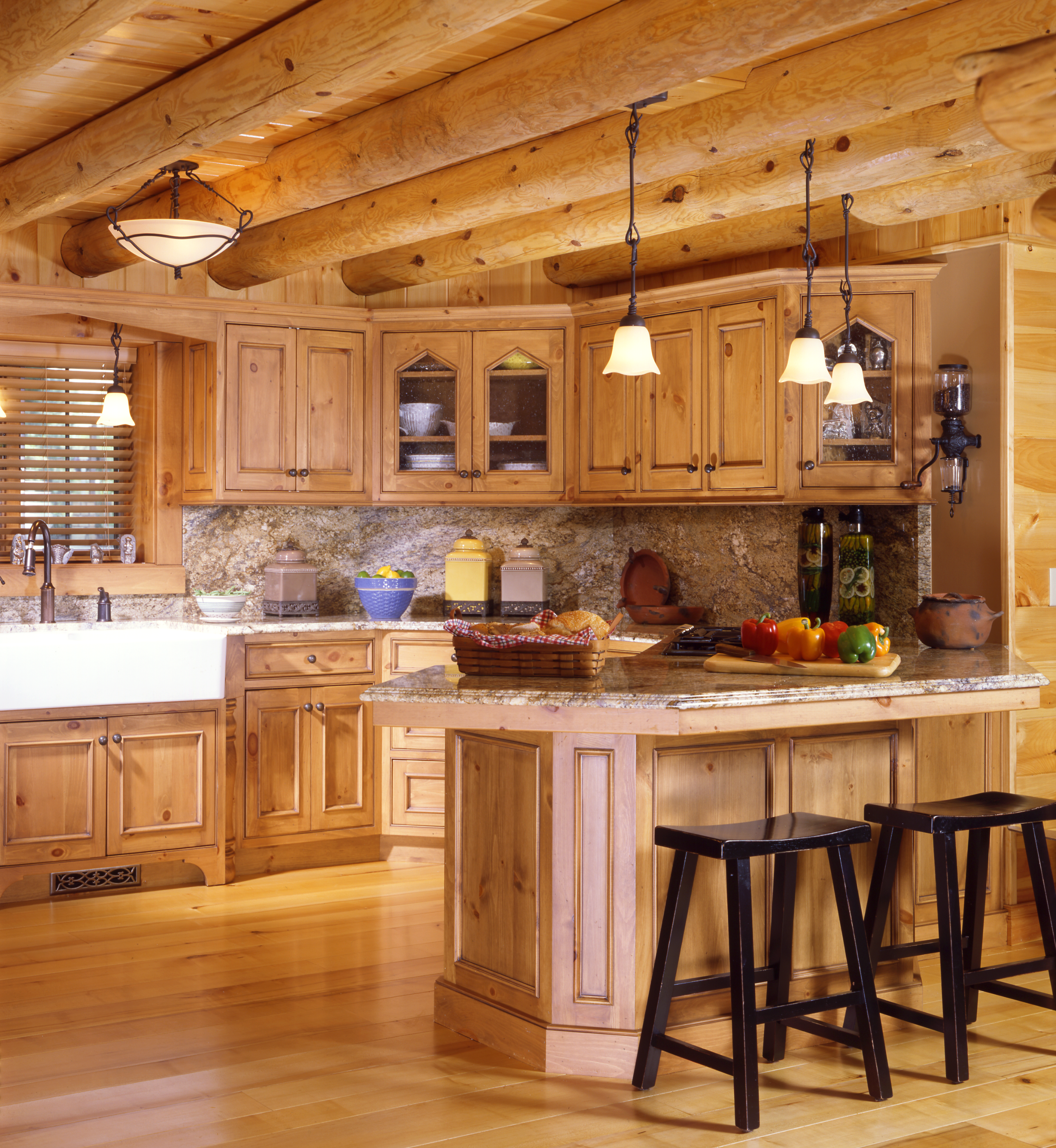 Cabin kitchens real log style for Log cabin kitchen backsplash ideas
