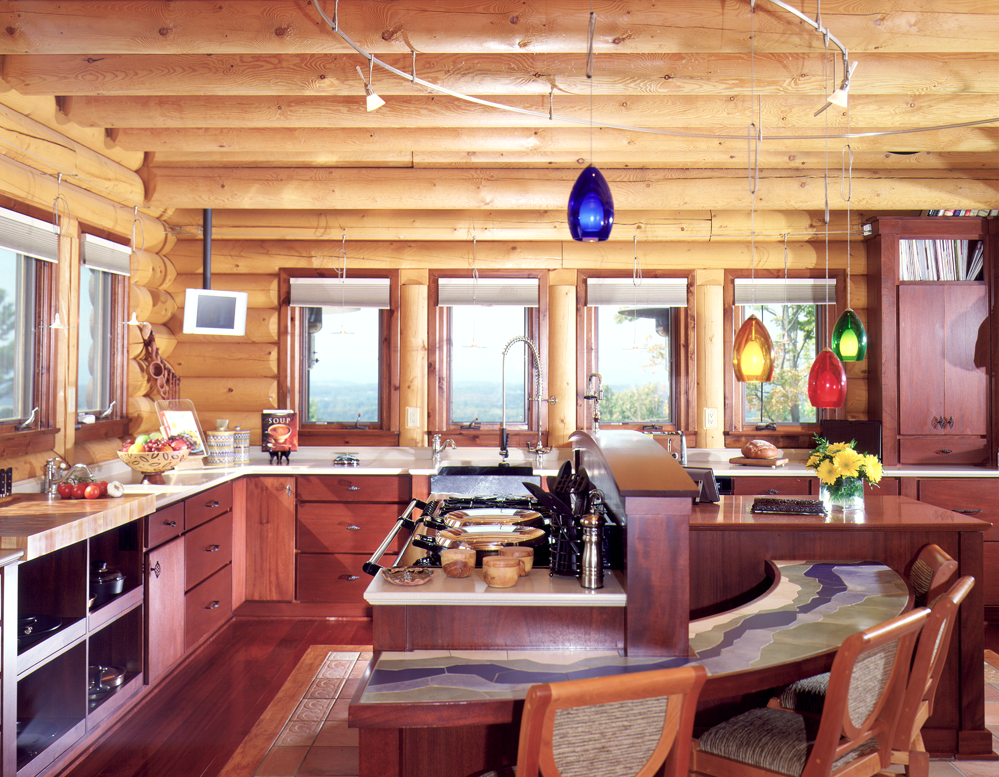 Summer time and these log home kitchens are hot real log for Log home kitchen designs