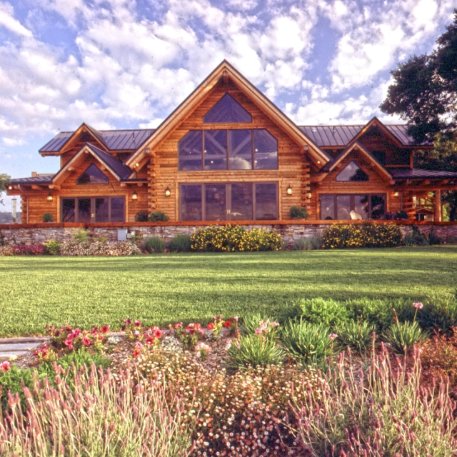 Landscaping for easy log home maintenance real log style for Log and stone homes