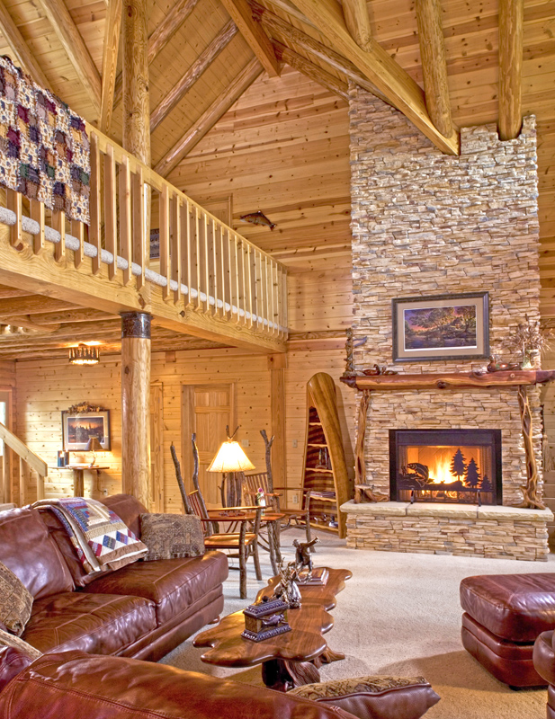 Log home fireplace real log style for Log home fireplaces
