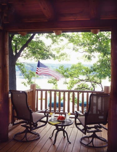 Log Home Porch Overlooking Lake