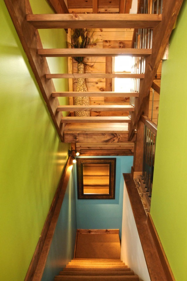 Modern log home stair way