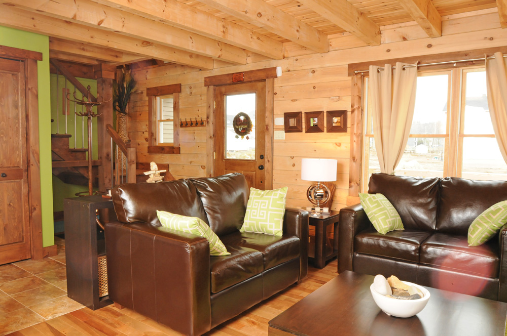 Modern style small log home real log style for Small cabin living room ideas