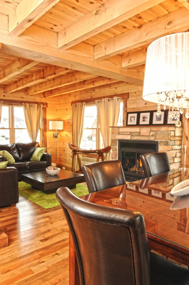 Modern log home living and dining room