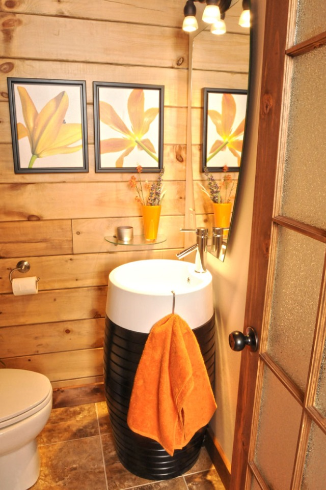 Small log home modern bathroom