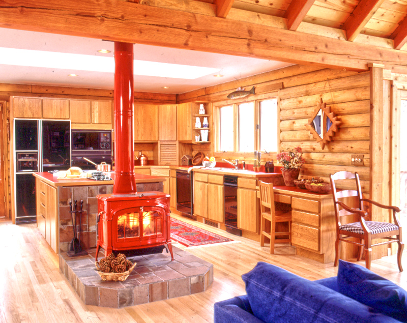 Wood Stove In Log Home Kitchen
