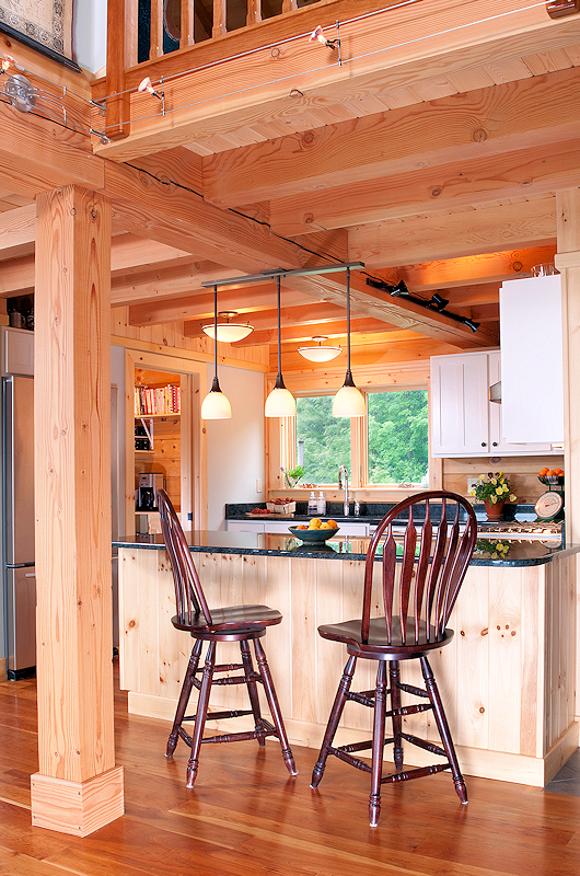 Log Home Kitchen with island