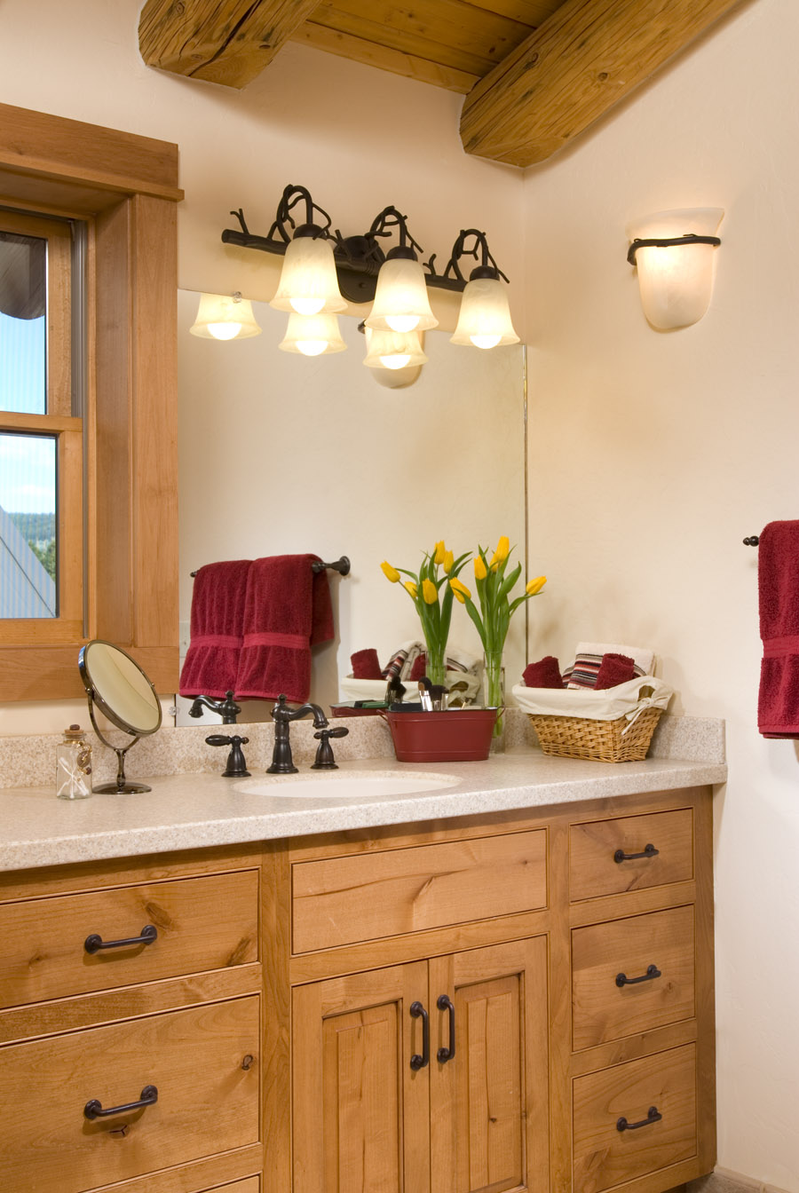 The Worst Mistake People Make When Placing Under Counter: Log Home Bathrooms « Real Log Style