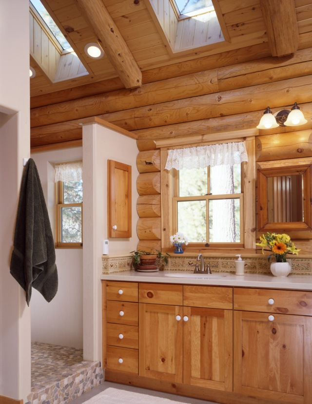Log Home Bathroom With Skylights