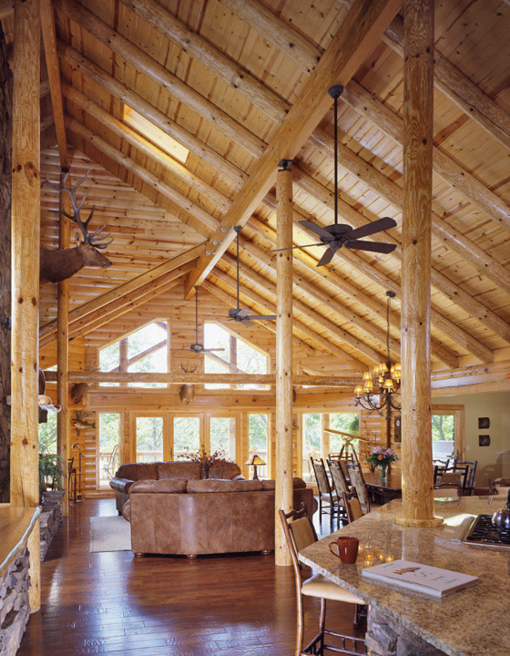 View of log home from inside front door