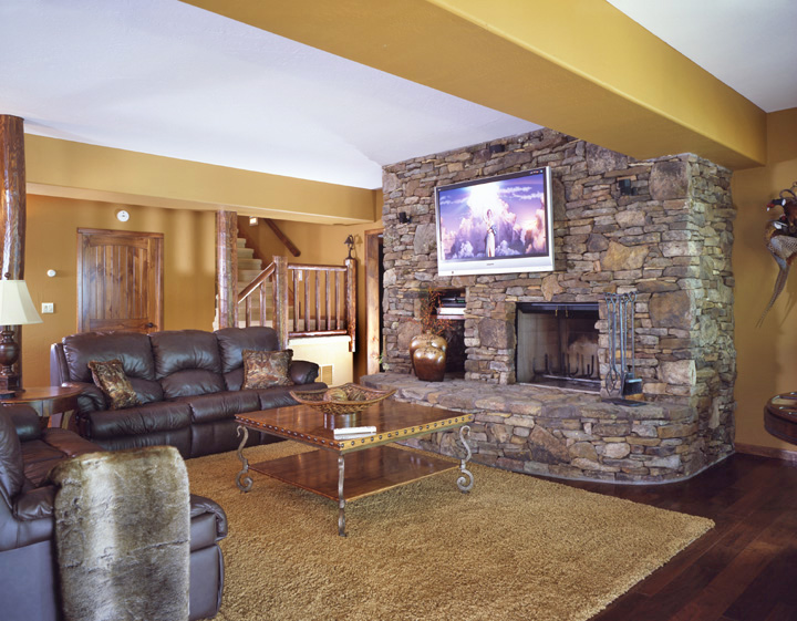 Log home man cave real log style for Log cabin with basement