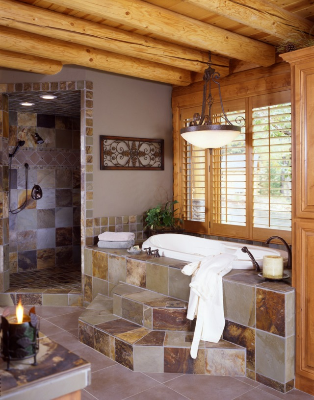 Log Home Bathroom With Slate Tile