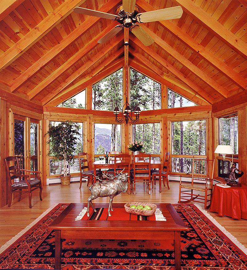 Shopping for log home plans real log homes for Homes with great rooms