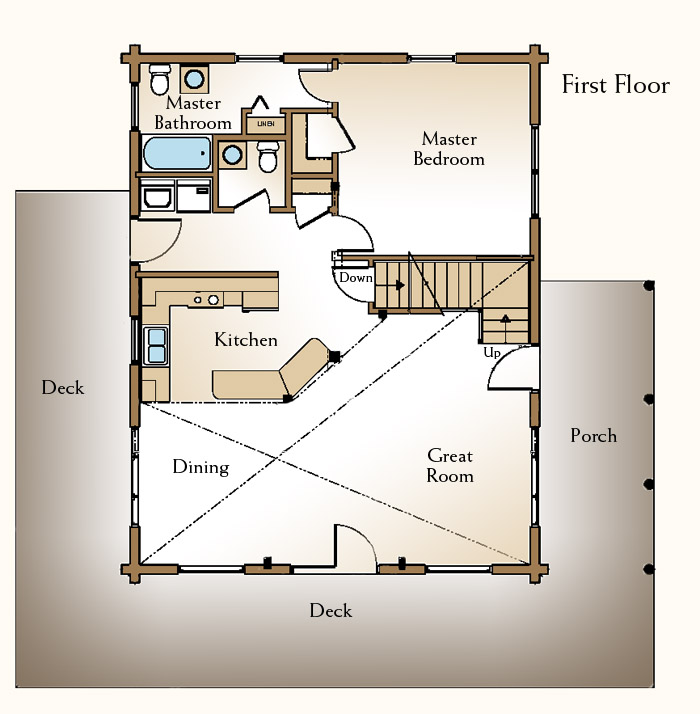 A small log home floor plan the augusta real log style Small cottage plans with loft