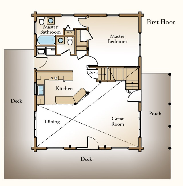 Aususta Log Home Floor Plan First Floor