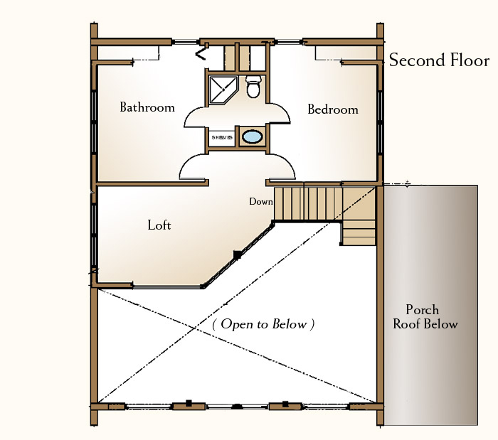 Jack and jill bathroom real log style for Upstairs house plans