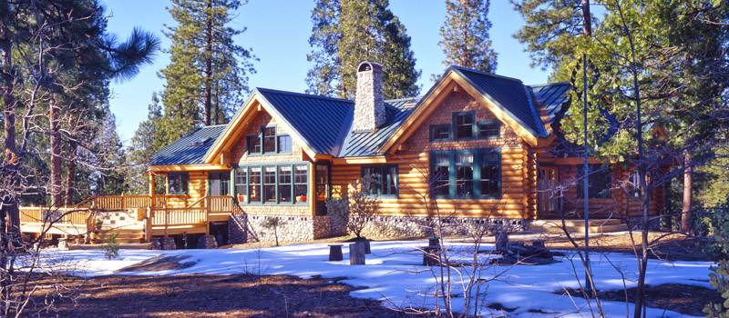 Log home plans real log style for Ranch style log home designs