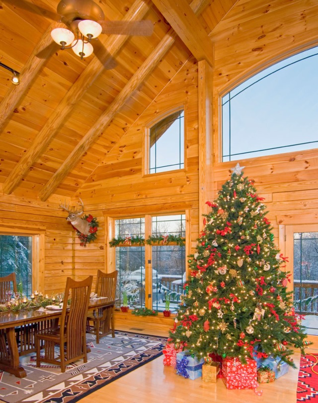Log Home Great Room With Christmas Tree