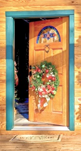 Log Home Front Door With Christmas Wreath