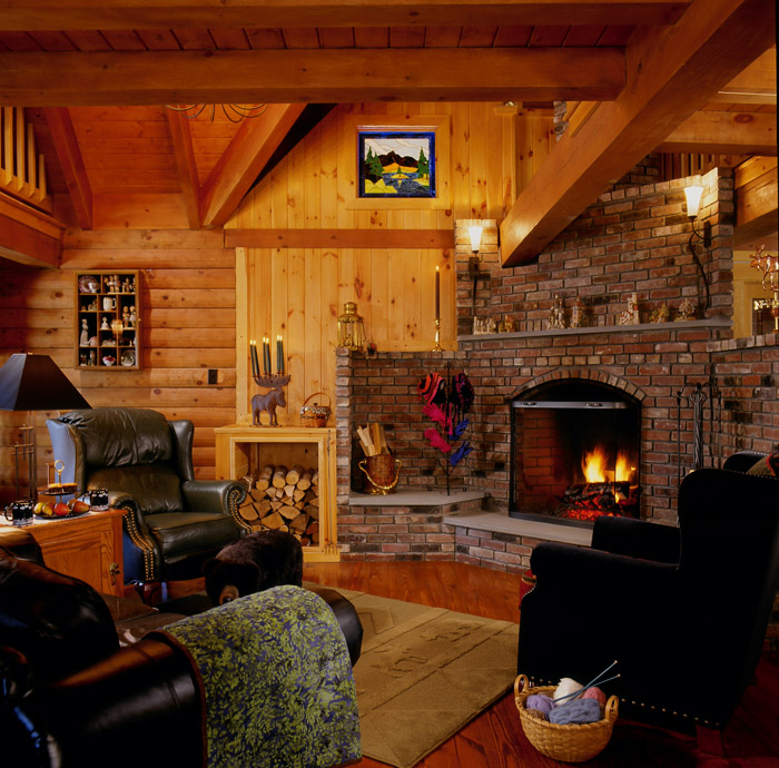 Brighten up a log cabin real log style for Log and brick home