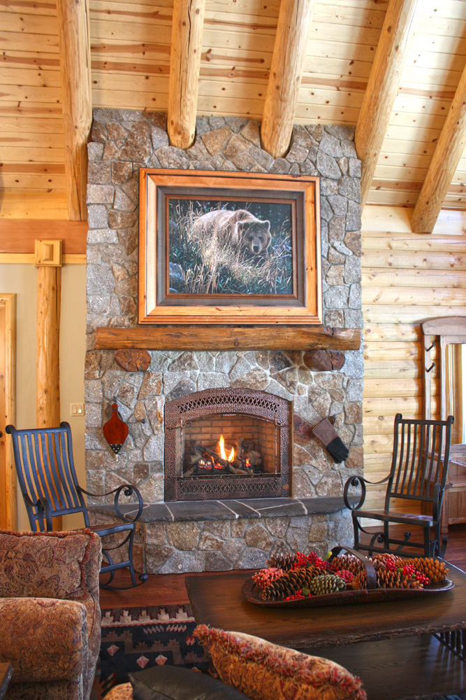 Log home fireplace real log style page 2 for Cabin fireplace pictures