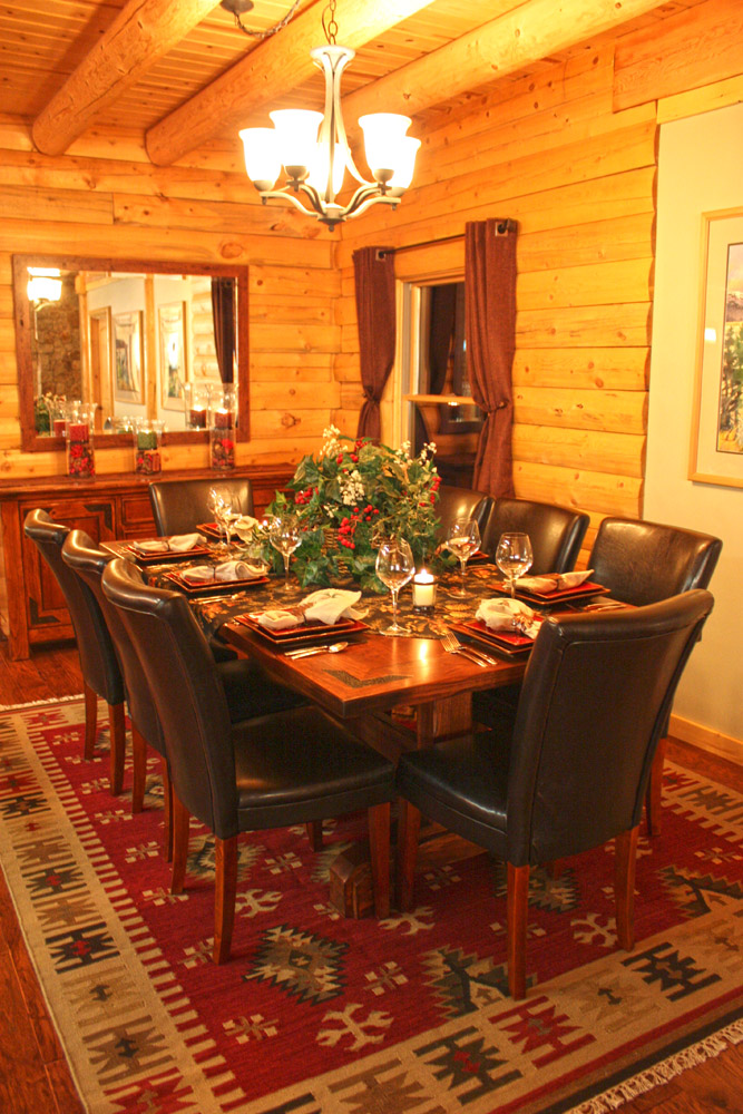 log home dining room table set for christmas