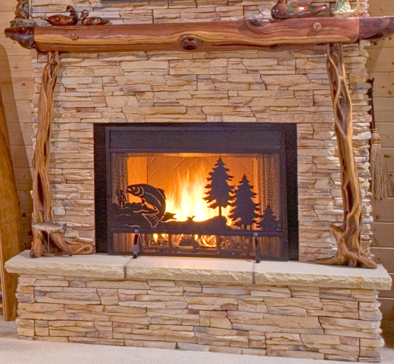 Rustic lighting real log style for Log home fireplaces