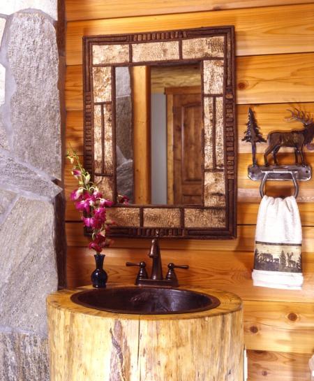 Birch Bark Mirror in Log Home Bathroom