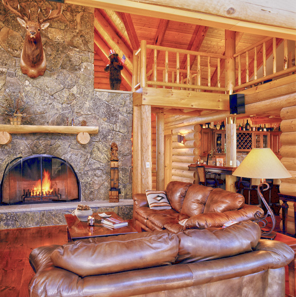 log home great room with bar