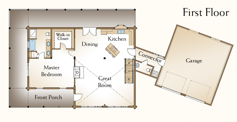 Log home plans real log style for Log cabin floor plans with garage