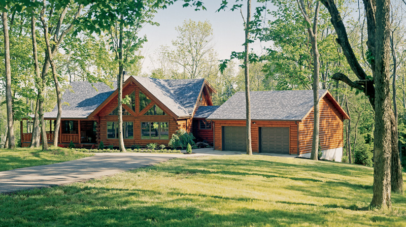 the sun shines bright on this new kentucky log home real log homes