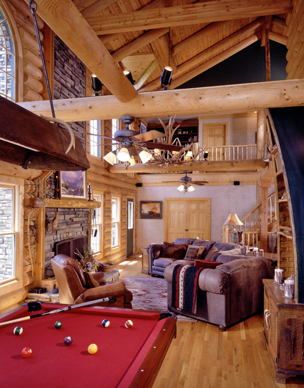 log home great room with pool table
