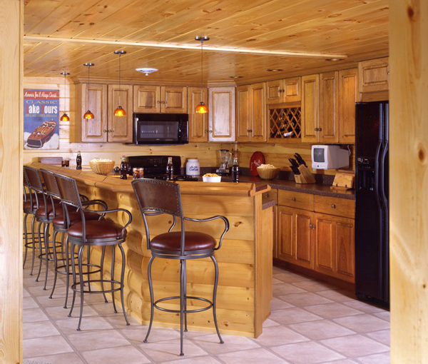 log home basement bar kitchenette