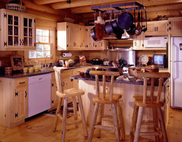 log home kitchen with rustic bar stools