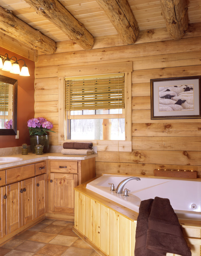 Luxury log homes real log style - Images of home bathrooms ...