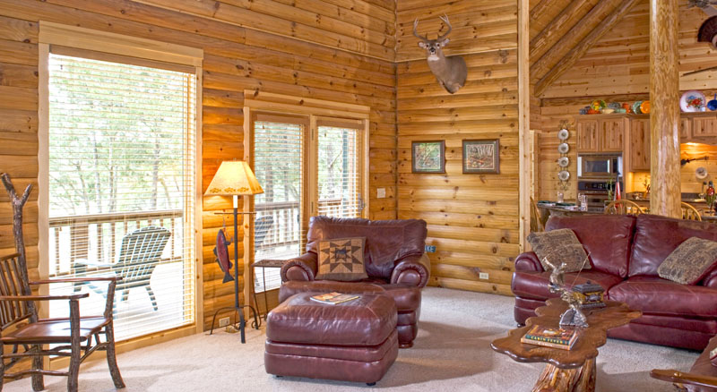 Window treatments for french doors real log homes for Log cabin window treatments