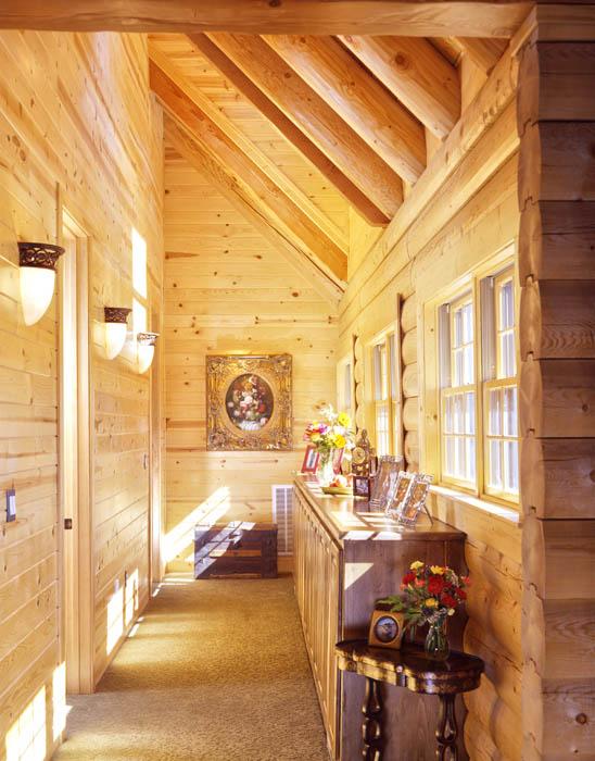 log home hallway with windows