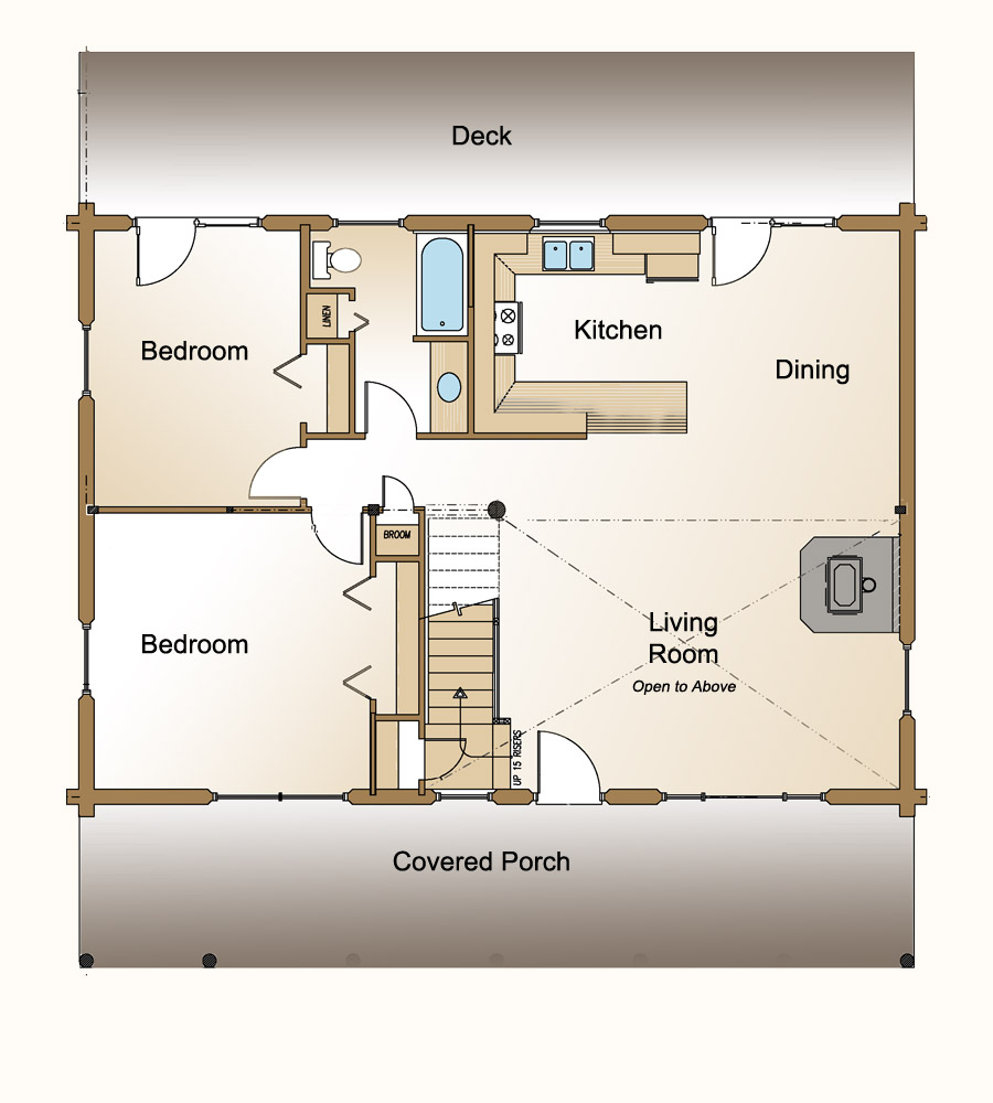 3 bedroom log home plan real log style for Small house plans