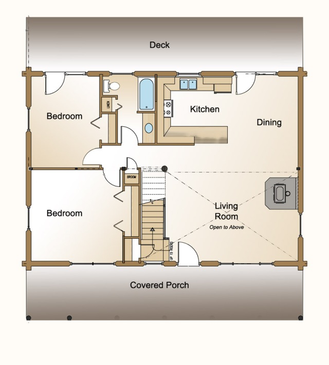 cedaredge log home plan first floor