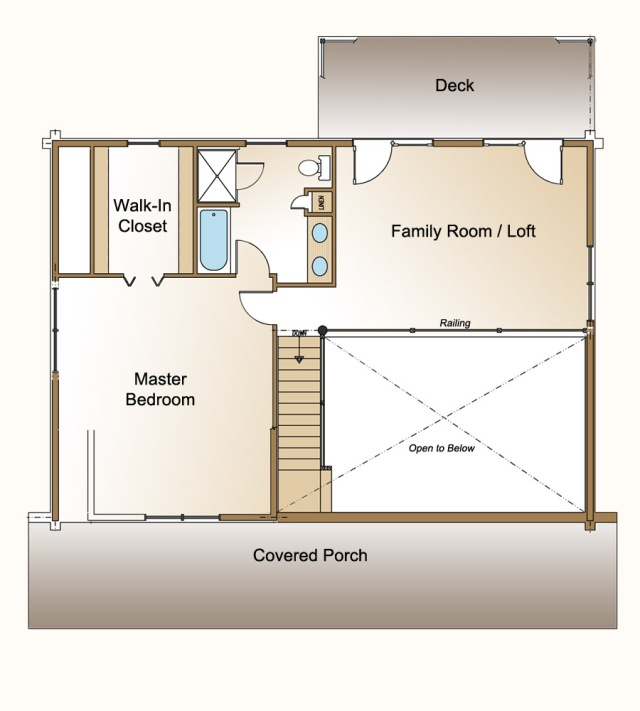 cedaredge log home plan second floor