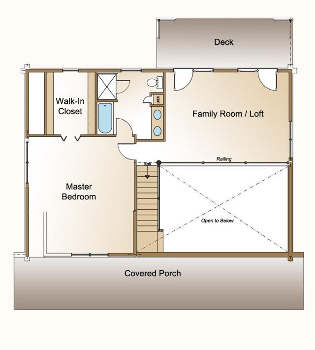 cedaredge log home plan second floor