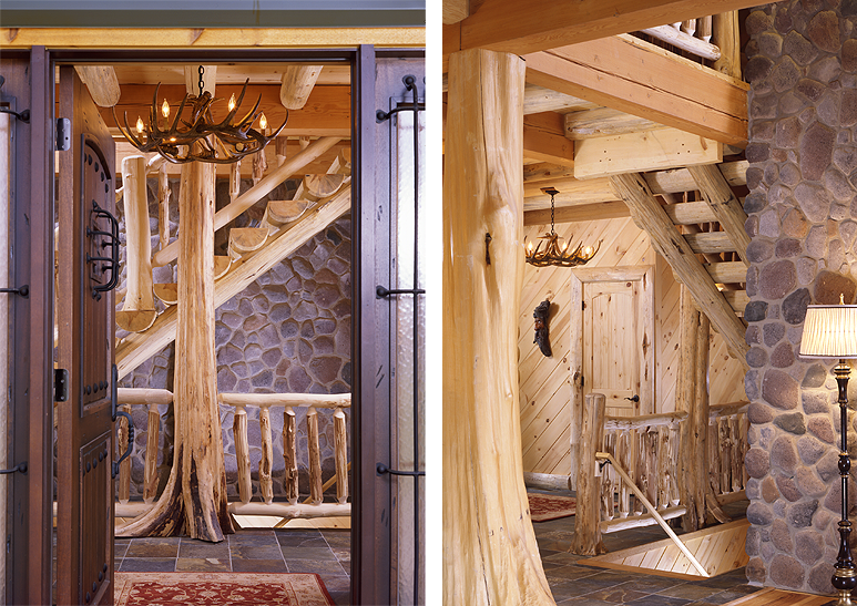 Log Home Staircase With Half Log Treads And Tree Trunk Post