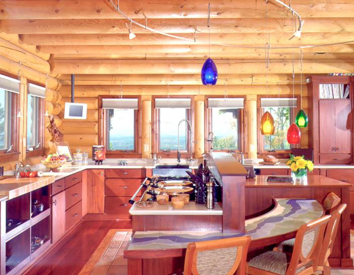 modern log home kitchen