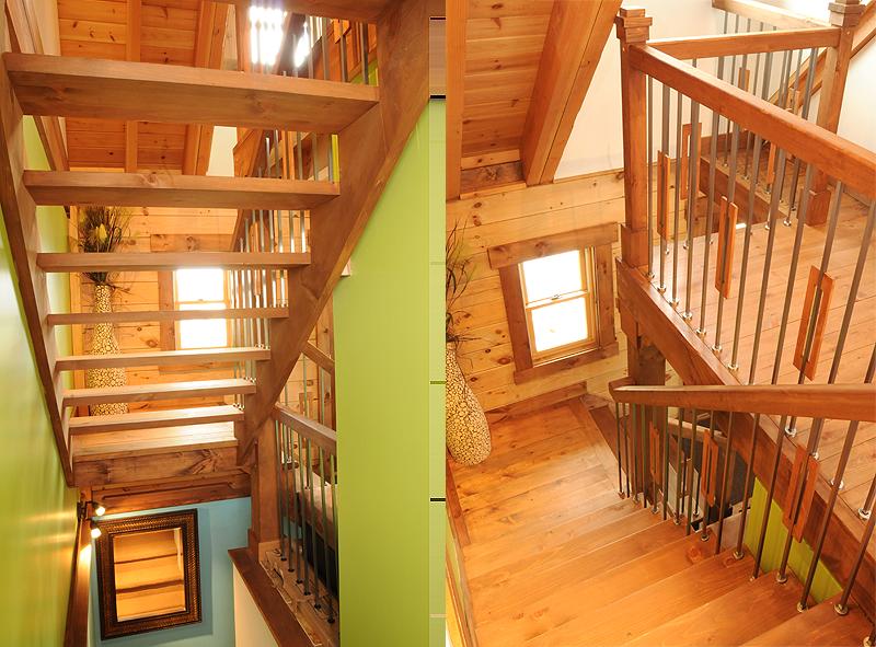 L Shaped Modern Log Home Staircase