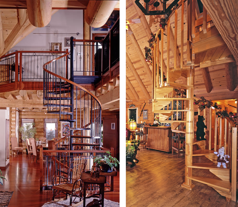 Log Home Spiral Staircases