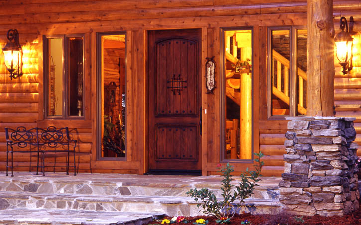 Magnificent Log Home Front Door Options Real Log Homes Home Interior And Landscaping Ologienasavecom