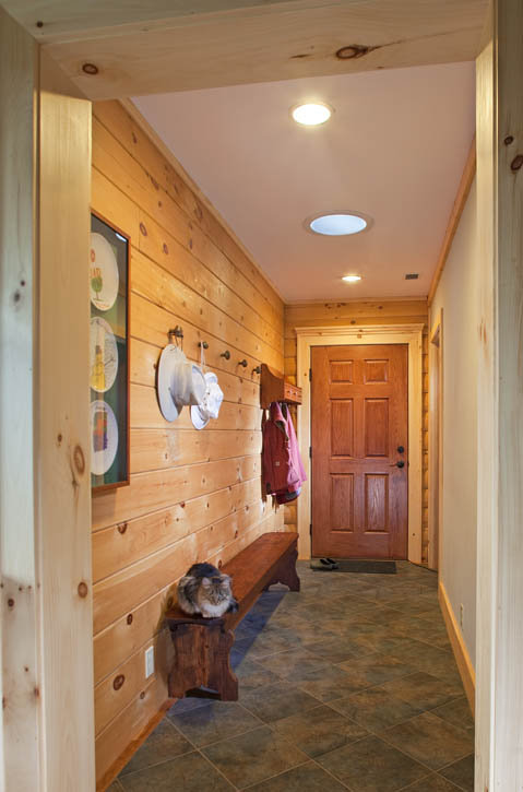 Flooring options for log homes real log style Mudroom floor